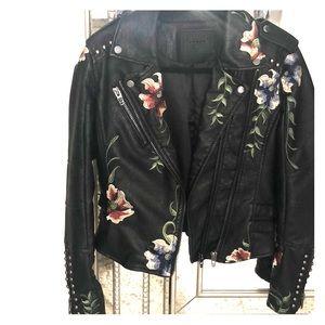 Black floral leather jacket
